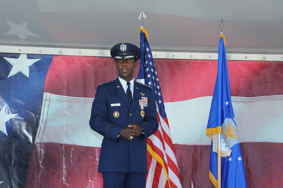 JOINT BASE SAN ANTONIO-RANDOLPH, Texas -- Gen. Edward A. Rice Jr., former Air Education and Training Command commander, addressed the Airmen of AETC one last time during his retirement ceremony here Oct. 10. (U.S. Air Force photo by Rich McFadden)