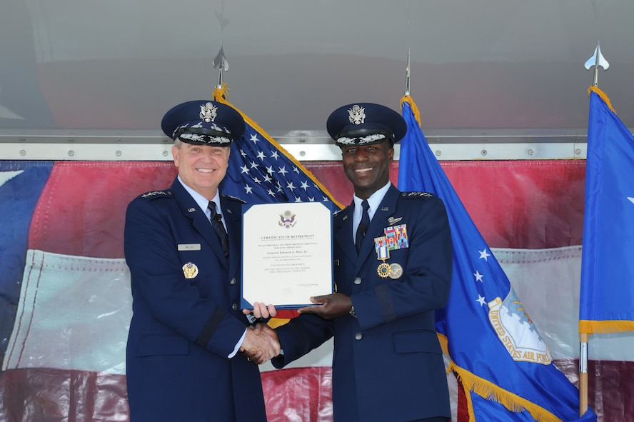 JOINT BASE SAN ANTONIO-RANDOLPH, Texas -- (Right) Gen. Edward A. Rice Jr., former Air Education and Training Command commander, retired after 35 years of dedicated service to the U.S. Air Force here Oct. 10. Air Force Chief of Staff Gen. Mark A. Welsh III presided over the change of command and retirement ceremonies. (U.S. Air Force photo by Rich McFadden)
