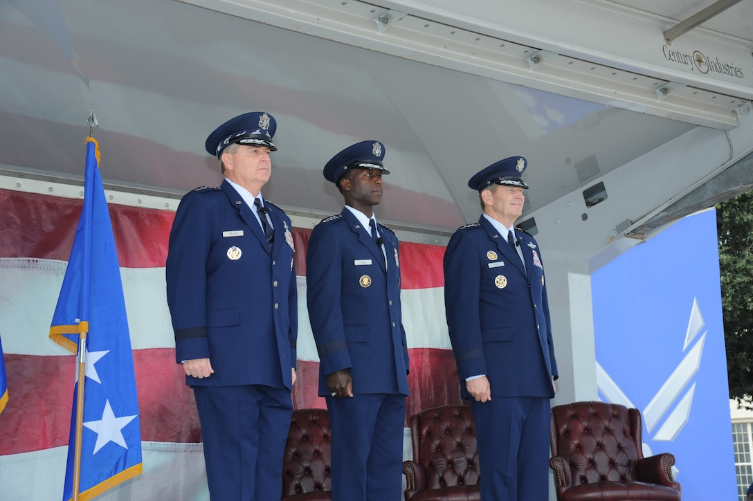 JOINT BASE SAN ANTONIO-RANDOLPH, Texas -- Air Force Chief of Staff Gen. Mark A. Welsh III (left), Gen. Edward A. Rice Jr., Air Education and Training Command commander, and Gen. Robin Rand, future AETC commander, arrive at the AETC change of command ceremony here Oct. 10. (U.S. Air Force photo by Rich McFadden)