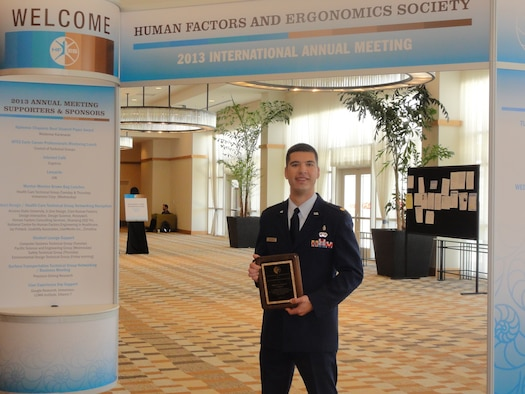 Maj. Joe Pugliese, assigned to the Human Factors Division, Air Force Safety Center (AFSEC), received the Oliver Keith Hansen Outreach Award on Oct. 1, in San Diego, Calif., for his support of the Military Flight Operations Quality Assurance Program (MFOQA) and Aviation Safety Action Program (ASAP) efforts managed by the Aviation Safety Division. (Courtesy photo)