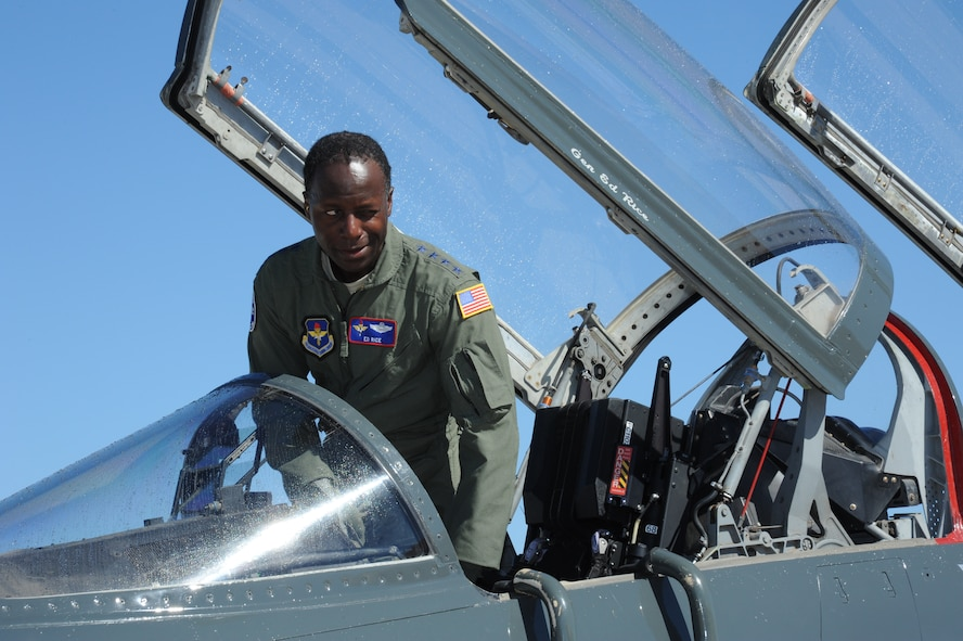 """Gen. Edward A. Rice Jr., commander of Air Education and Training Command, completed his final Air Force flight Oct. 7, in a T-38 Talon at Joint Base San Antonio-Randolph, Texas. The general retired Oct. 10 after more than 35 years of Air Force service and 4,000 flying hours. As is customary with a """"fini flight,"""" at the end of the sortie he was greeted by friends and acquaintances and doused with water hoses. (U.S. Air Force photo by Rich McFadden)"""