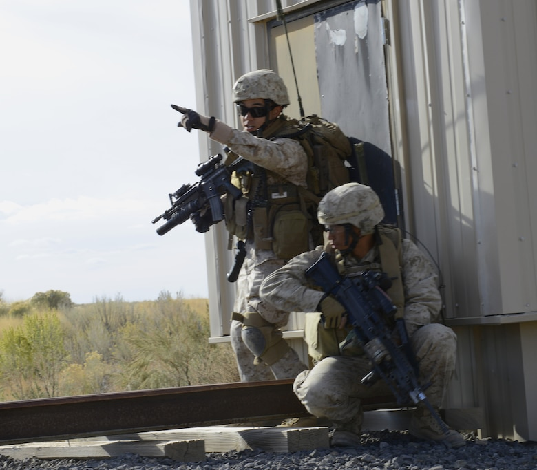 U.S. Marine Cpl. Daniel Soto, 1st Air Naval Gunfire Liaison Company forward air controller, points to a position while Cpl. Avila Sison, 1st ANGLICO forward observer, provides overwatch Oct 8, 2013, at the Juniper Butte range. During their last deployment, Marines assigned to 1st ANGLICO worked with the British Army, Afghan National Army, and several other units from various nations. (U.S. Air Force photo by Senior Airman Benjamin Sutton/RELEASED)