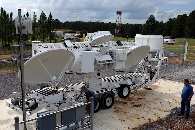 The Transmitter Electronic Unit antenna array is installed at the Claiborne Bombing and Gunnery Range, Oct. 4, 2013, Alexandria, La. The transmitter is part of the Joint Threat Emitter, which simulates surface-to-air missile threats against U.S. Air Force aircraft. (Courtesy photo/released)