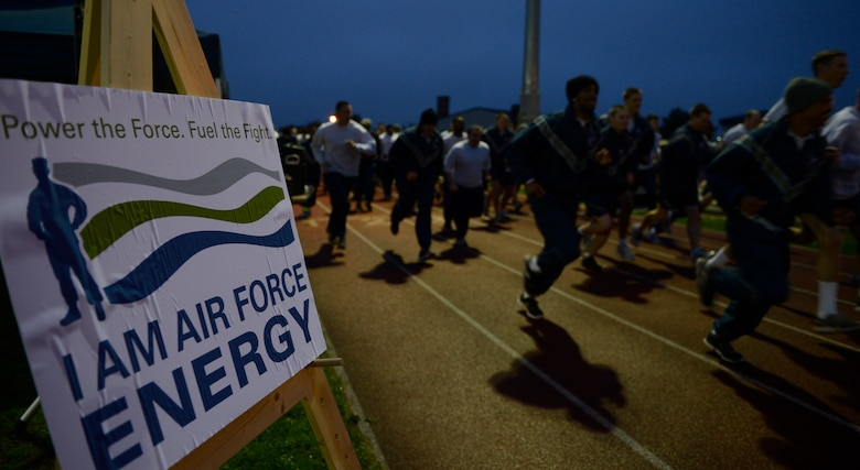 SPANGDAHLEM AIR BASE, Germany–Sabers participate in the Energy Action Month 5-K run Oct. 11, 2013. To educate Saber Airmen and instill a sense of ownership in energy conservation, the 52nd Civil Engineer Squadron base energy manager is utilizing various platforms such as advertising posters, an energy information booth, and the 5-K to educate members. (U.S. Air Force photo by Staff Sgt. Christopher Ruano/Released)