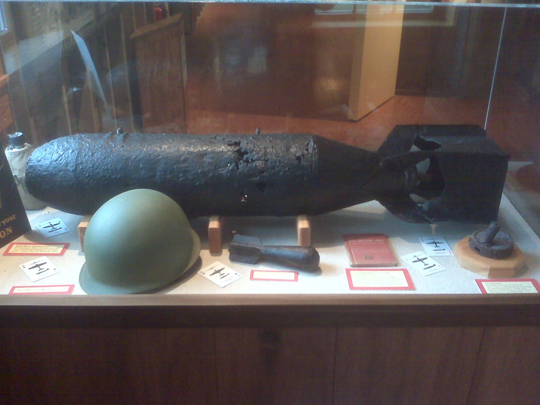 The Quartermaster Storehouse Museum at Fort DeSoto County Park features artifacts of the site's World War II history, when it was known as the Mullet Key Bombing and Gunnery Range, including this 100-lb. practice bomb.