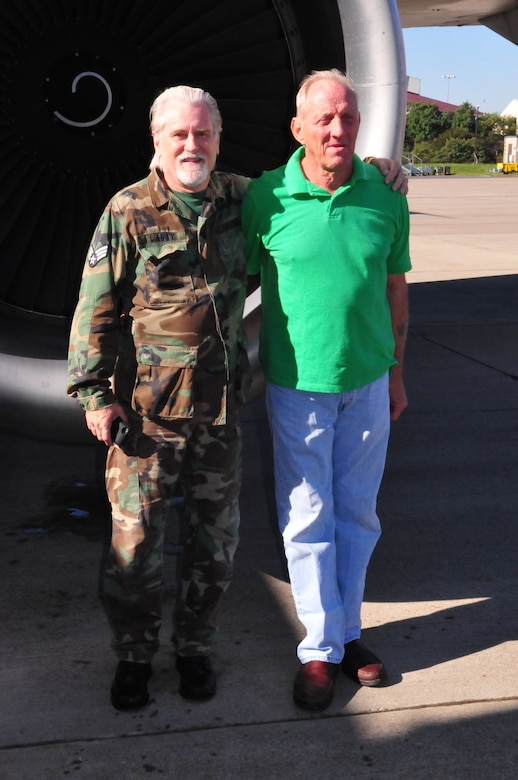 U.S. Air Force Retired Master Sgt. Robert Bragg and Sgt. Tom Lacey are reunited with a KC-135R/T Aircraft September 24, 2013. Bragg and Lacey performed ground maintenance on this particular KC-135R/T as early as 1967 while stationed at Beal AFB, California. The two recalled memories and shared stories with their counterparts from the 171st Air Refueling in Pittsburgh PA.  where the aircraft is still in service today. 44 years have passed since Bragg and Lacey saw each other last. Bragg learned the 171st Air Refueling Wing had the KC-135R/T he once maintained while attending an airshow near Pittsburgh, PA. Bragg posted a story on a KC-135Q website where Lacey found it. Lacey shorty contacted the 171st Public Affairs office and requested if the two could visit the base. (U.S. Air National Guard photo by Tech. Sgt. Shawn Monk/Released)