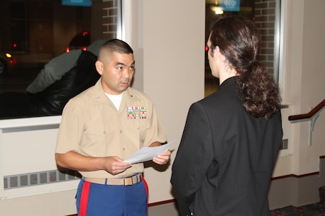 Lt. Col. Vincent Yasaki (left), currently a student at the Marine Corps War College, Quantico, Va., briefs David Sugarman, a mechanical engineer student at the City College of New York, before a leadership-building exercise at the 2013 Society of Asian Scientists and Engineers Convention and Career Fair, Oct. 11.  Sugarman, out of more than two-dozen students, was the only student to volunteer to be the leader for the exercise and was tasked to lead his team to accomplishing a unique mission with tough challenges.  (U.S. Marine Corps photo by Cpl. Damany S. Coleman).