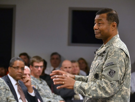 Lt. Gen. Thomas Bostick, U.S. Army Chief of Engineers and Commanding General, U.S. Army Corps of Engineers, speaks to Transatlantic Division and Middle East District employees during a town hall, Oct. 16.