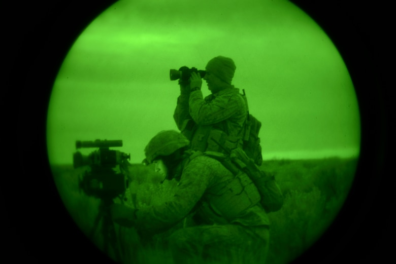 U.S. Marine Capt. Erich Lloyd, 1st Air Naval Gunfire Liaison Company Supporting Arms Liaison Team Delta forward air controller, directs close-air support as SALT-D member Cpl. Andrew Dimauro uses an infrared pointing and illuminating laser (or B.E. Meyer's 'IZLID') to 'paint' targets for inbound AV-8B Harriers. The training was part of exercise Mountain Roundup at Mountain Home Air Force Base, Idaho, Oct. 8, 2013. (U.S. Air Force photo by Senior Airman Ben Sutton/RELEASED)