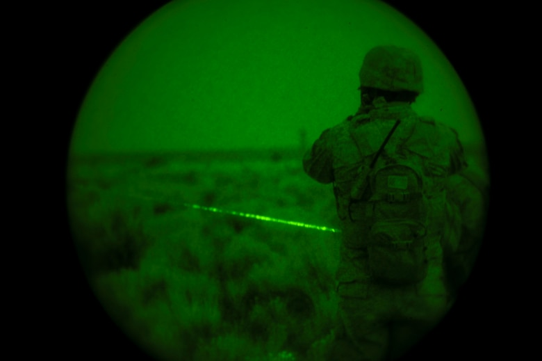 U.S. Marine Capt. Erich Lloyd, 1st Air Naval Gunfire Liaison Company Supporting Arms Liaison Team Delta forward air controller, directs close-air support as SALT-D member Cpl. Andrew Dimauro uses an infrared pointing and illuminating laser (or B.E. Meyer's 'IZLID') to 'paint' targets for inbound AV-8B Harriers. The training was part of exercise Mountain Roundup at Mountain Home Air Force Base, Idaho, Oct. 8, 2013. (U.S. Air Force photo by Master Sgt. Kevin Wallace/RELEASED)