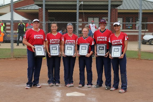 From left to right:  LTC Terri Andreoni, Army; Capt Kristina Dempsey, Air Force; SMSgt Karrie Warren, Air Force; SPC Miranda Campbell, Army; SGT Leina Braxton, Army; and MA3 Shasta Rodriguez, Navy; you 2013 All-Americans - ASA Women's Open National Championship.