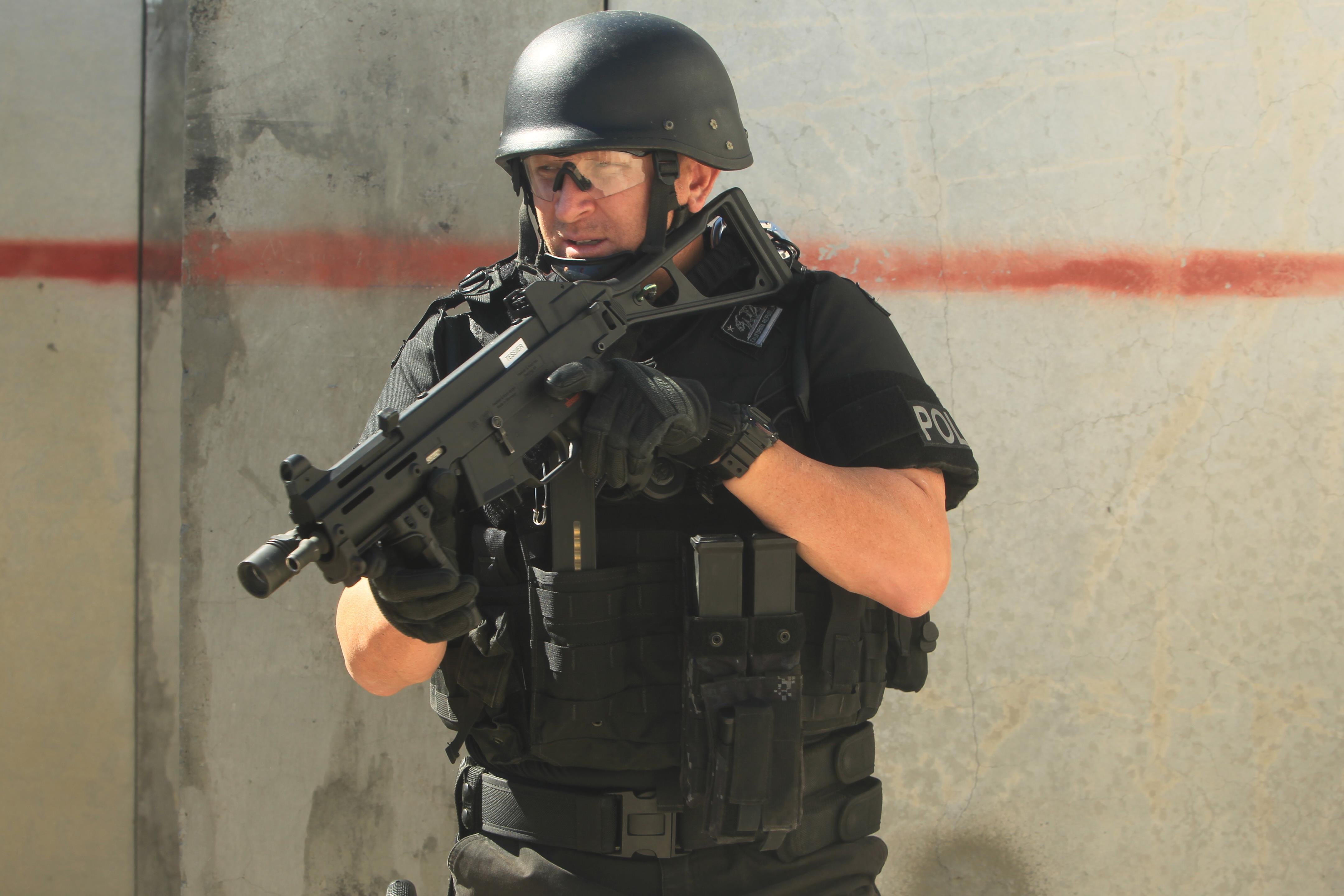 military civilian police train to her aboard bat center