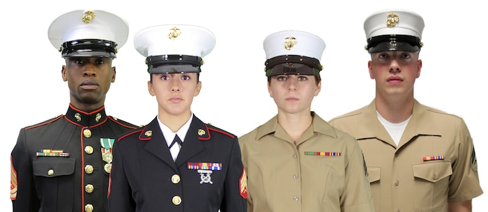 """The Marine Corps Uniform Board seeks active-duty and Reserve Marines' feedback on three uniform-related issues. One issue is whether the Corps should adopt universal, unisex dress and service caps—either the current male frame cap with modifications or the Dan Daly cap, which had previously been identified as the replacement cap for the female """"bucket"""" cover."""