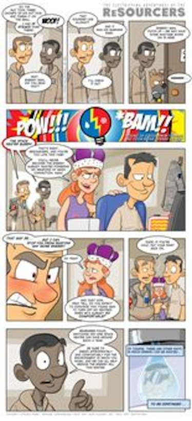 The ReSourcers are an energy conservation-minded duo battling the forces of waste in a comic series created for Energy Awareness Month 2013. (U.S. Air Force comic by Tech. Sgt. Austin M. May)