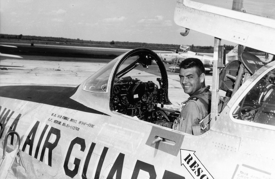 A pilot from the 174th Tactical Reconnaissance Squadron at the controls of  an Iowa National Guard RF-84 in Sioux City, Iowa in 1960.