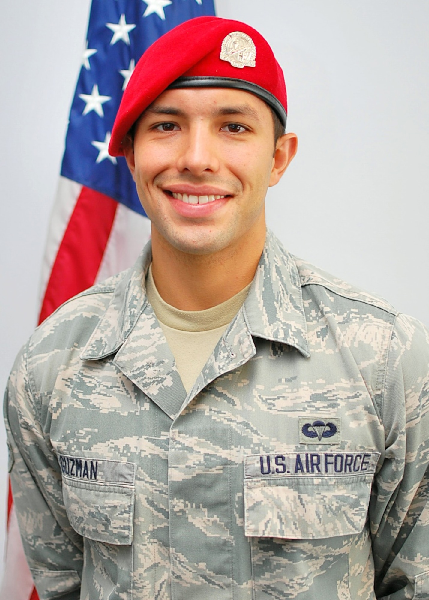 Airman 1st Class Michael Guzman earned the coveted scarlet beret of a combat controller Sept.12, 2013, at Fort Bragg, N.C., after 16 months of intense military training.