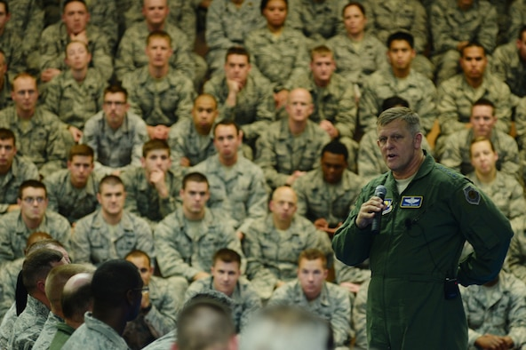 SPANGDAHLEM AIR BASE, Germany --- Gen. Frank Gorenc, U.S. Air Forces in Europe and Air Forces Africa commander, speaks to nearly 2,000 Airmen during a wing all-call at the Skelton Memorial Fitness Center Oct. 18, 2013. As USAFE commander, the general is responsible for Air Force activities, conducted through 3rd Air Force, in an area of operations covering more than 19 million square miles. (U.S. Air Force photo by Senior Airman Joe W. McFadden / Released)