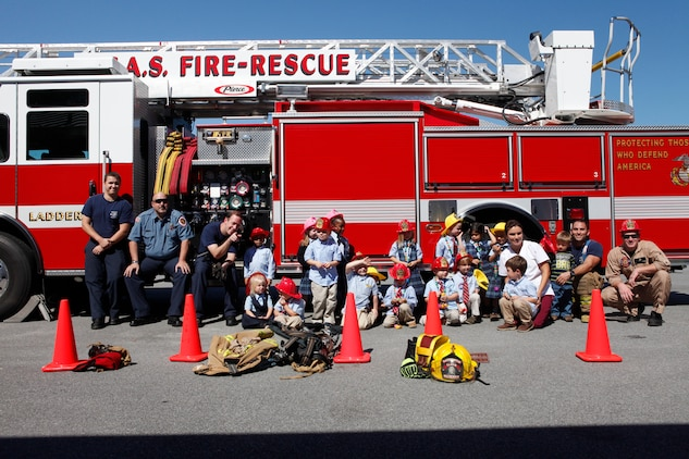 K3 and K4 students of St. Peter's Catholic School visited the Marine Corps Air Station Beaufort Structural Fire Department, Oct. 11. The visit was part of National Fire Prevention Week.