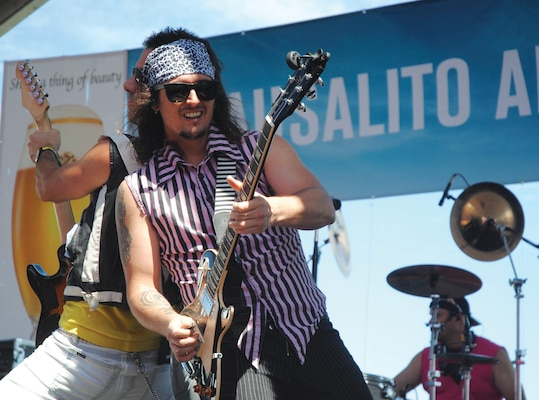 Members of Tainted Love, an 80s rock cover band, kept crowds on their feet Sept. 1 during the Sausalito Art Festival. Other notable acts included Psychedelic Furs and Lisa Marie Presley.