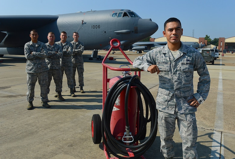 Five heroic maintainers, led by Airman 1st Class Elias Delarosa (front), acted quickly by evacuating the aircrew and controlling the fire until the Barksdale Fire Department arrived. (U.S. Air Force photo by Senior Airman Micaiah Anthony/ Released)