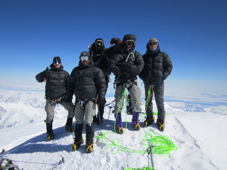 Five combat controllers from the Kentucky Air National Guard's 123rd Special Tactics Squadron scaled Mt. McKinley near Talkeetna, Alaska, on May 25, 2013, as part of arctic mountaineer training. The 20,237-foot summit is the highest mountain peak in North America. (Photo courtesy 123rd Special Tactics Squadron)