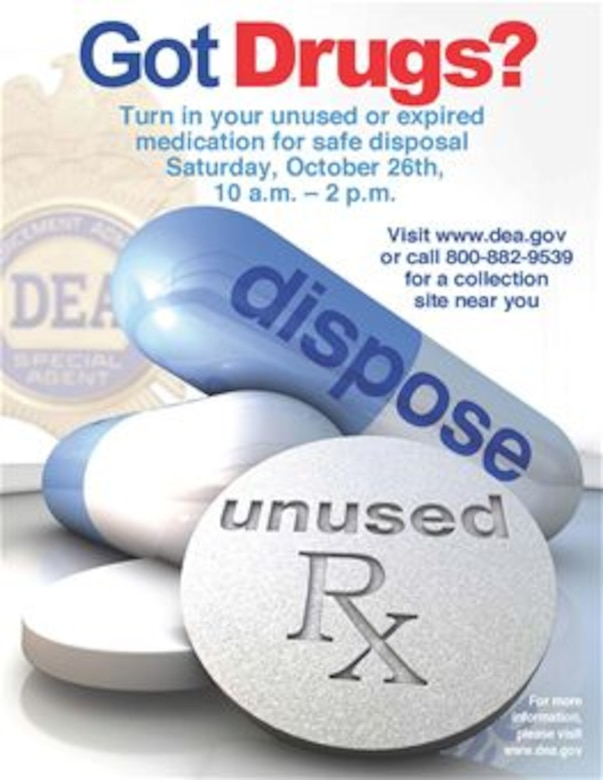 The Buckley Pharmacy is teaming up with law enforcement agencies from 10 a.m. to 2 p.m. Oct. 26, 2013, at the Commissary during National Prescription Drug Take Back Day in order to provide a safe way of disposing expired, unwanted or dangerous drugs stored at home. The free service aims to provide a safe, convenient and responsible means of disposing of prescription drugs, while also educating the general public about the potential for abuse of medications. (Courtesy Graphic)