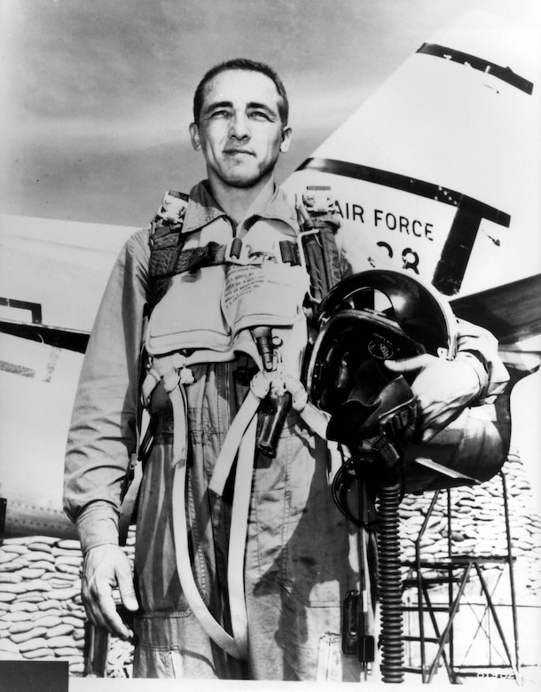 "Brig. Gen. James Robinson ""Robbie"" Risner is credited with destroying eight MiG-15s and damaging another while assigned to the 336 Fighter Squadron in South Korea. On Sept. 21, 1952, then-Major Risner scored double kills.  He achieved ace status on Sept. 15, 1952, downing his fifth MiG-15."