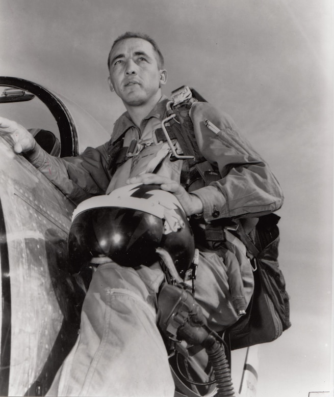 Brig. Gen. Robinson Risner is credited with destroying eight MiG-15s and damaging another while assigned to the 336 Fighter Squadron in Korea.  On Sept. 21, 1952, then-Major Risner scored double kills. He achieved ace status on Sept. 15, 1952, downing his fifth MiG-15. Risner entered the Air Force in 1944 and flew P-38, P-39, and P-40 fighers with the 30th Fighter Squadron in Panama from 1944 to 1946.