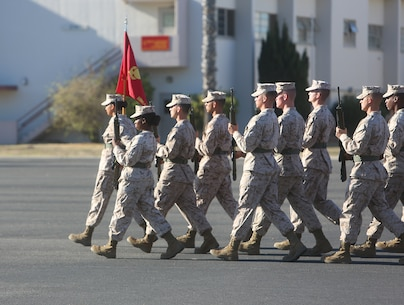 Marines with Ammunition Company, 1st Supply Battalion, Combat Logistics Regiment 15, 1st Marine Logistics Group, march in unison during a quarterly drill competition aboard Camp Pendleton, Calif., Oct. 18, 2013. The event was designed to sharpen the basics of drill while building morale among Marines in the battalion.