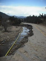 A technical team visited Estes Park on October 6 to assess conditions in Estes Park following the flooding. The area had significant damages to roads as well as the rivers and streambeds themselves. The park itself was inaccessible from the east.