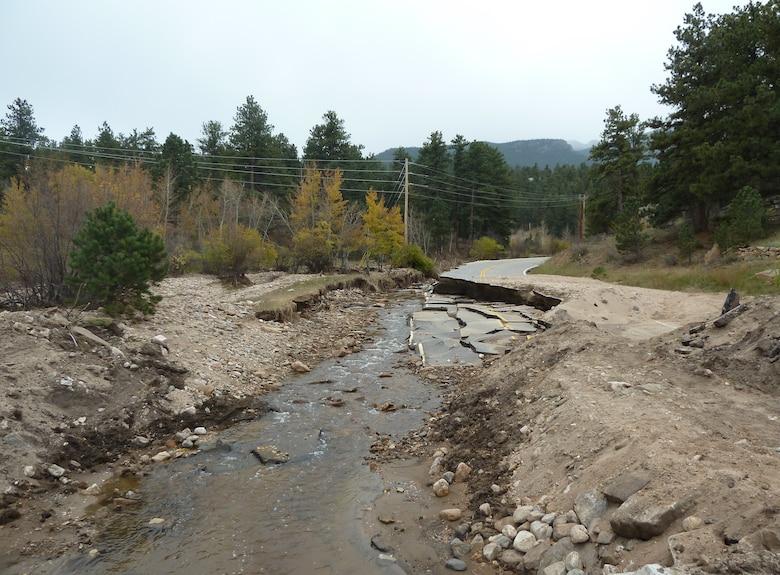 Near Estes Park, Fall River and Fish Creek saw extensive flooding. Fish Creek experienced significant erosion which damaged an adjacent roadway, several locations where roadways crossed the creek and a sewer line was washed away. The Denver Regulatory Office authorized the much needed repair of the sewer lines and roadways along Fish Creek.