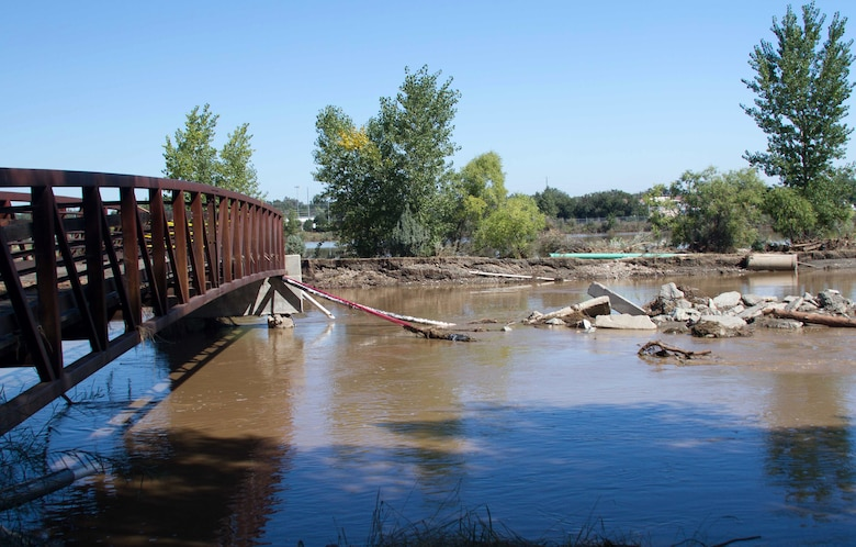 Flood damage is shown around the city of Boulder, Colo., Sept. 19, 2013. The U.S. Army Corps of Engineers has deployed personnel to Colorado under the direction of the Federal Emergency Management Agency, for the assessments and evaluation associated with ensuring the safety of drinking water and wastewater systems in the affected areas.