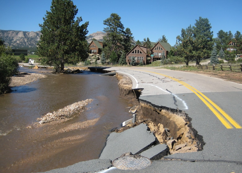 Flood damage around the town of Estes Park, Colo., Sept. 20, 2013. The U.S. Army Corps of Engineers deployed personnel to Colorado under the direction of the Federal Emergency Management Agency, for assessing and evaluating the safety of drinking water and wastewater systems in the affected areas. If a system proves semi-operational or nonoperational, team members include recommendations on ways to bring the system back up to operational status.