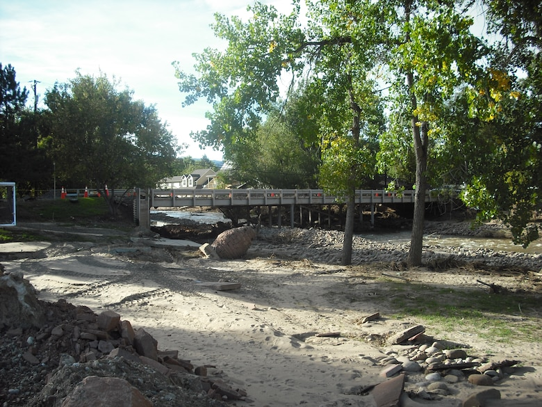 The 2nd Ave bridge in Lyons, Colo., was impacted as high flows on the St. Vrain River forced the river from its channel flowing through a park and ball field, washing out parts of 2nd Avenue as well as impacting the 2nd Avenue bridge before returning to its natural channel. Regional General Permit 96-07 is being used to authorize larger flood related repair projects not covered under the Nationwide Permits. The Denver Regulatory Office developed RGP 96-07 for flood related activities in Colorado. Activities still require review from the Denver Regulatory Office.