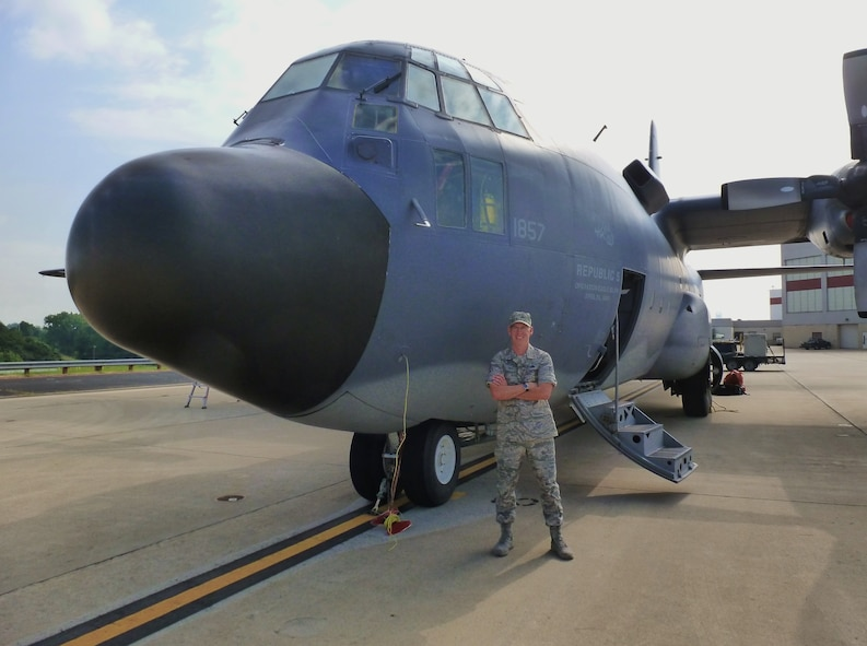 Chief Master Sgt. Scott Doremus, maintenance superintendent of the 1st Special Operations Aircraft Maintenance Squadron, stands by an EC-130E Commando Solo on loan to the Carolinas Aviation Museum in Charlotte, N.C., Oct. 19, 2013. The EC-130E has been in service in the Air Force for more than 50 years and among its many distinguished combat missions flew during Operation Eagle Claw, an attempt to rescue U.S. citizens held hostage in the U.S. embassy in Iran in 1980.