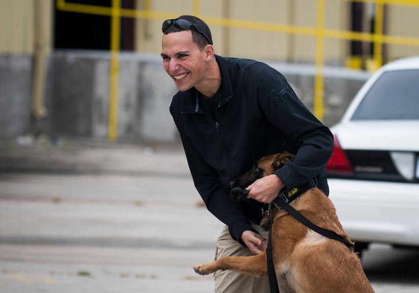 Staff Sgt. Jonathan Calo, 628th Security Forces K'9 handler, and his dog, Ttilley, play outside a warehouse October 22, 2013 before an Explosives detection training in Summerville, S.C. During this training, the dogs undergo obstacles where they searched through blocks or warehouse equipment for substances that are and may be used by terrorist or people who would like to harm us in the United States. (U.S. Air Force/Senior Airman Ashlee Galloway)