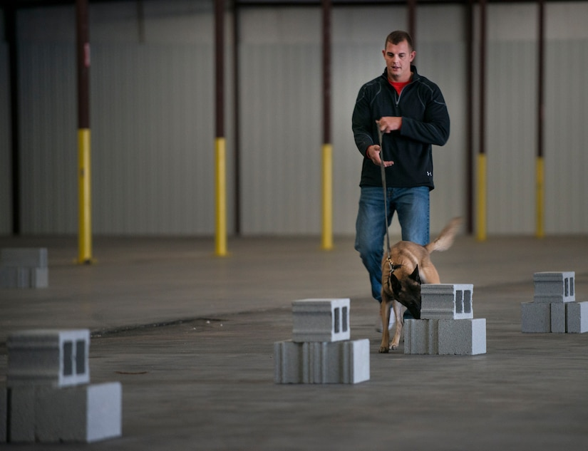 Staff Sgt. Timothy Garrett, 628th Security Forces K'9 handler, and his dog, Tze, do a search inside a warehouse October 22, 2013 during Explosives detection training in Summerville, S.C. During this training, the dogs undergo obstacles where they searched through blocks or warehouse equipment for substances that are and may be used by terrorist or people who would like to harm us in the United States. (U.S. Air Force/Senior Airman Ashlee Galloway)