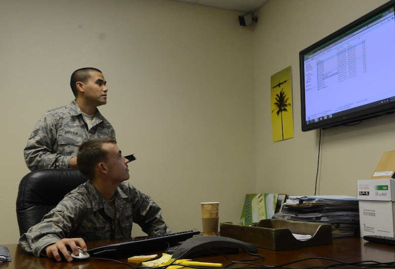 Staff Sgt. Jake Arriola, 36th Communications Squadron's Knowledge Operations Flight NCO in charge of publications and forms, assists Airman 1st Class Nathan Mahoney, 36th CS Knowledge Ops publications and forms manager, in determining if a form is completed within regulations Sept. 27, 2013, on Andersen Air Force Base, Guam. Knowledge Ops Airmen who manage publications and forms ensure the documents are filled out accurately and are within Air Force Instruction regulations. (U.S. Air Force photo by Airman 1st Class Emily A. Bradley/Released)
