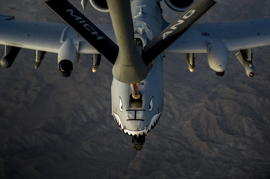 An A-10C Thunderbolt II receives fuel from a KC-135 Stratotanker over Afghanistan Oct. 2, 2013. The A-10 is deployed from Moody Air Force Base, Ga., to the 74th Expeditionary Fighter Squadron in support of Operation Enduring Freedom. The KC-135 is assigned to the 340th Expeditionary Air Refueling Squadron. (U.S. Air Force photo/Staff Sgt. Stephany Richards)