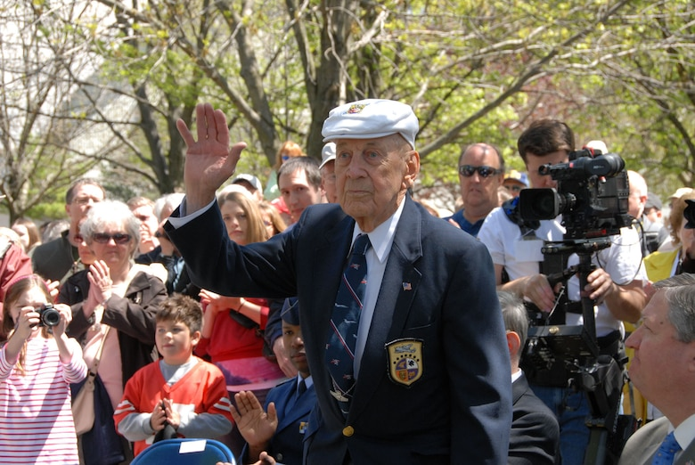 Lt. Col. Richard E. Cole, one of the Doolittle Tokyo Raiders, is recognized during a memorial service in honor of the Raider's 68th reunion, which was held at the National Museum of the U.S. Air Force on April 16-18, 2010.