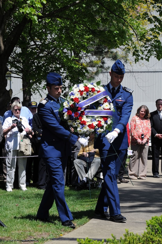 Two cadets from the Air Force Academy present a wreath during a memorial service in honor of the Doolittle Raiders 70th Anniversary Reunion in 2012. Public activities for the Final Toast on Nov. 9 will include a wreath-laying ceremony in Memorial Park, followed by B-25 flyover.