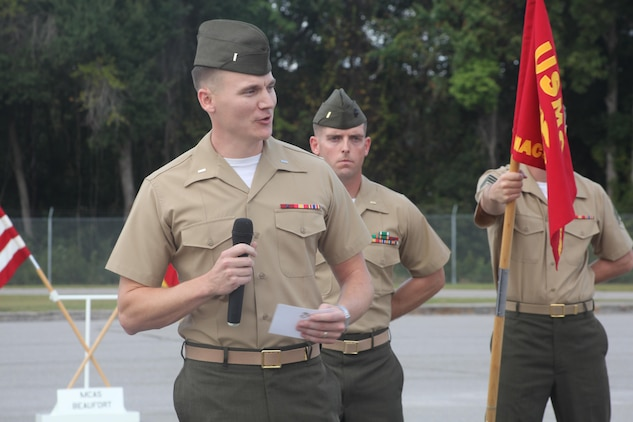 1st Lt. Joshua Langham, the new detachment commder for Marine Air Control Squadron, Detachment Alpha, speaks to an audience during the change of command ceremony, Oct. 18. During the ceremony, Langham relinquished command from Capt. Jack Larimore.