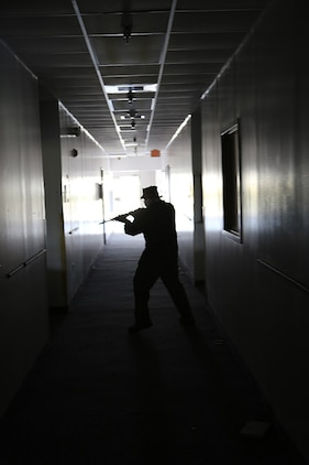 Marine and civilian police officers with the Provost Marshal's Office aboard Marine Corps Air Station Beaufort conducted active shooter training aboard Marine Corps Recruit Depot Parris Island, Oct. 15. The scenarios are stressful and intense, teaching law enforcement officials to think quickly and neutralize the threat quickly.