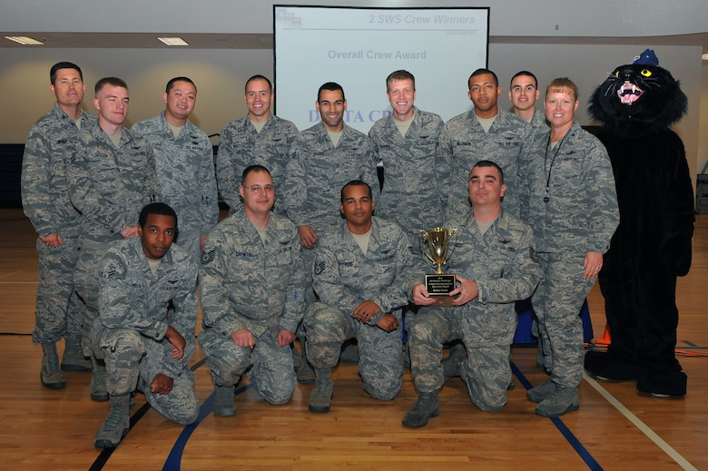 Members of the 2nd Space Warning Squadron delta crew receive the award for best crew during the Panther Challenge award ceremony Oct. 25, 2013, at the fitness center on Buckley Air Force Base, Colo. The Panther Challenge was the first competition to be held in honor of the Guardian Challenge used to test different groups within the 460th OG. (U.S. Air Force photo by Senior Airman Phillip Houk/Released)