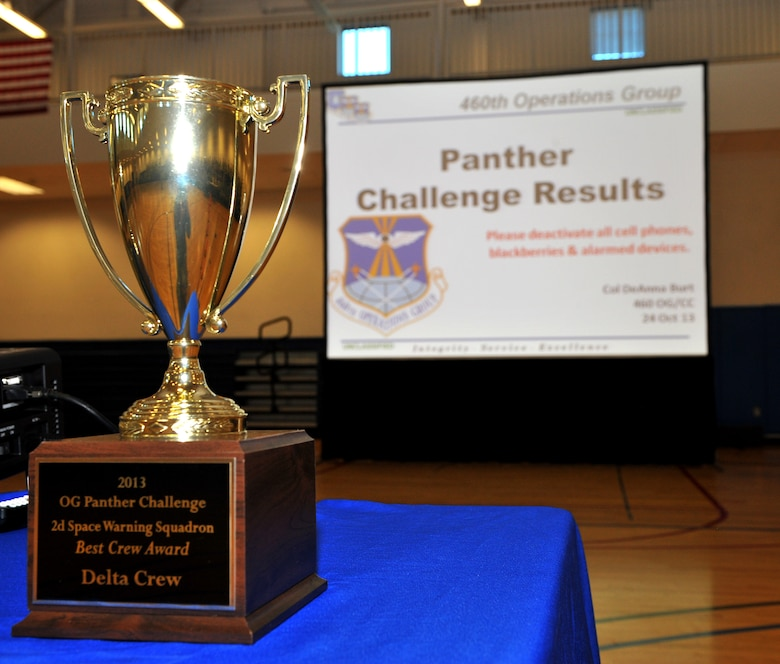 The results of the 2013 Panther challenge were announced following the 460th Space Wing Commander call Oct. 25, at the fitness center on Buckley Air Force Base, Colo. The Panther Challenge was the first competition to be held in honor of the Guardian Challenge used to test different groups within the 460th OG. (U.S. Air Force photo by Senior Airman Phillip Houk/Released)