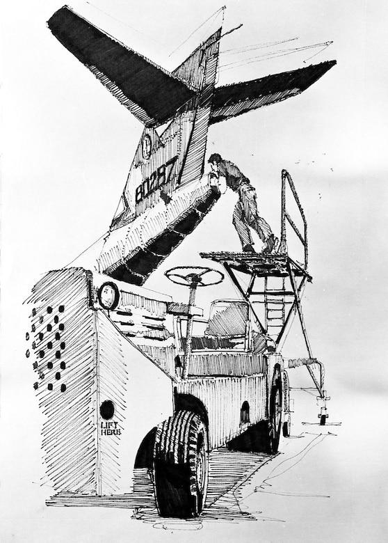 Art work shows an Airman packing a drag shoot to an F-101B aircraft at the Portland Air National Guard Base, Ore. (A1C Robert Thomas, Oregon Air National Guard)