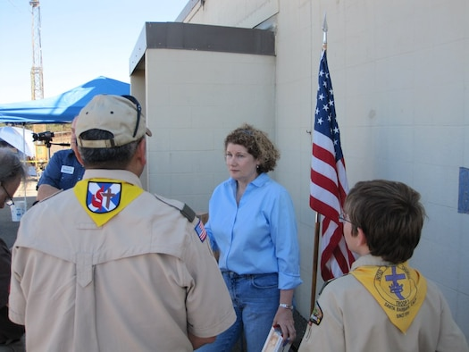 Lt. Gen. Susan J. Helms, the 14th Air Force commander, chats with Vandenberg Boy Scouts and signs autographs during the Satellite Amateur Radio Club's annual  boy  scout  jamboree on the  air at Vandenberg Oct. 18 to 20. This event allows scouts to chat with other scouts in countries around the world, as well as within the United States.  (courtesy photo by Eric Lemmon)