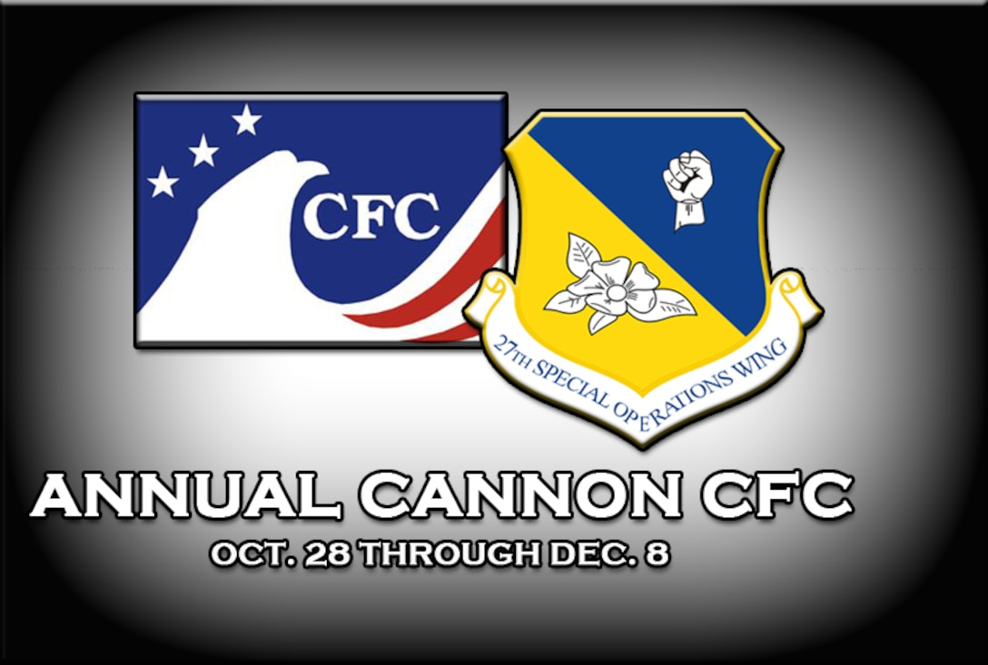 The 2013 Combined Federal Campaign is scheduled to run from Oct. 28 - Dec. 8, 2013, at Cannon Air Force Base, N.M. With the Air Commando can-do spirit, last year Cannon raised $162,000 by the campaign's end thanks to the generosity of military and civilian federal employees. (U.S. Air Force graphic/Desiree Ann Montenegro)