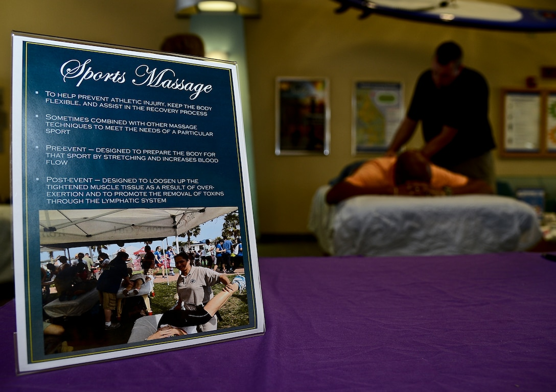 Sport massage is one of 12 specialized forms of massage therapy offered during the first annual Caring Hands Support Our Troops event at the Health and Wellness Center on MacDill Air Force Base, Fla., Oct. 25, 2013. The Caring Hands event was organized as a way to educate military members and their spouses on the different massage therapy options, and the physical and mental health advantages that are associated with each. (U.S. Air Force photo by Senior Airman Melanie Bulow-Kelly/Released)