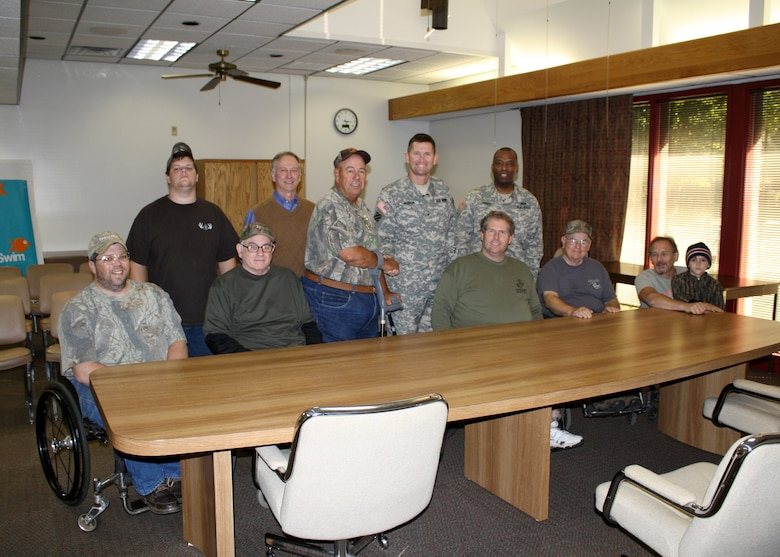 Pictured left to right: Paralyzed Veterans of America (PVA) member Tommy and his son Max, PVA member Ollie Lankford; Keith Crowe, Russell Project Manager; Kurt Glass, assistant sports director for Southeastern PVA chapter; Brig. Gen. Donald E. Jackson, South Atlantic Division commander; Command Sgt. Maj. Antonio Jones; and PVA members Paul, Norm, and Ricky (with his grandson Landon). The U.S. Army Corps of Engineers hosted two deer hunts for the PVA Oct. 23 and 24 at Richard B. Russell Lake.